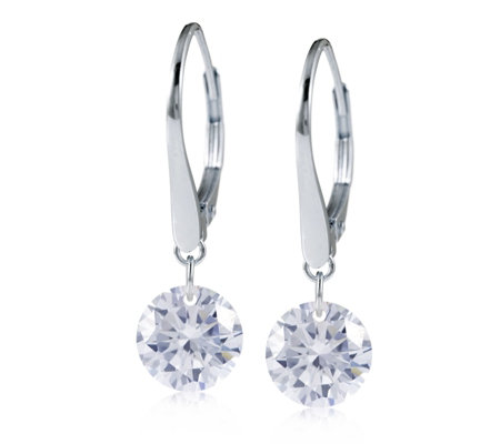Diamonique 4ct tw Floating 100 Facet Earrings Sterling Silver