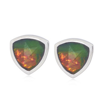 Canadian Ammolite Triplet Faceted Trillion Cut Studs Sterling Silver - 313678