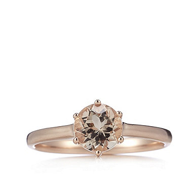 1ct Morganite Round Solitaire Ring Rose Gold Vermeil Sterling Silver - 322578