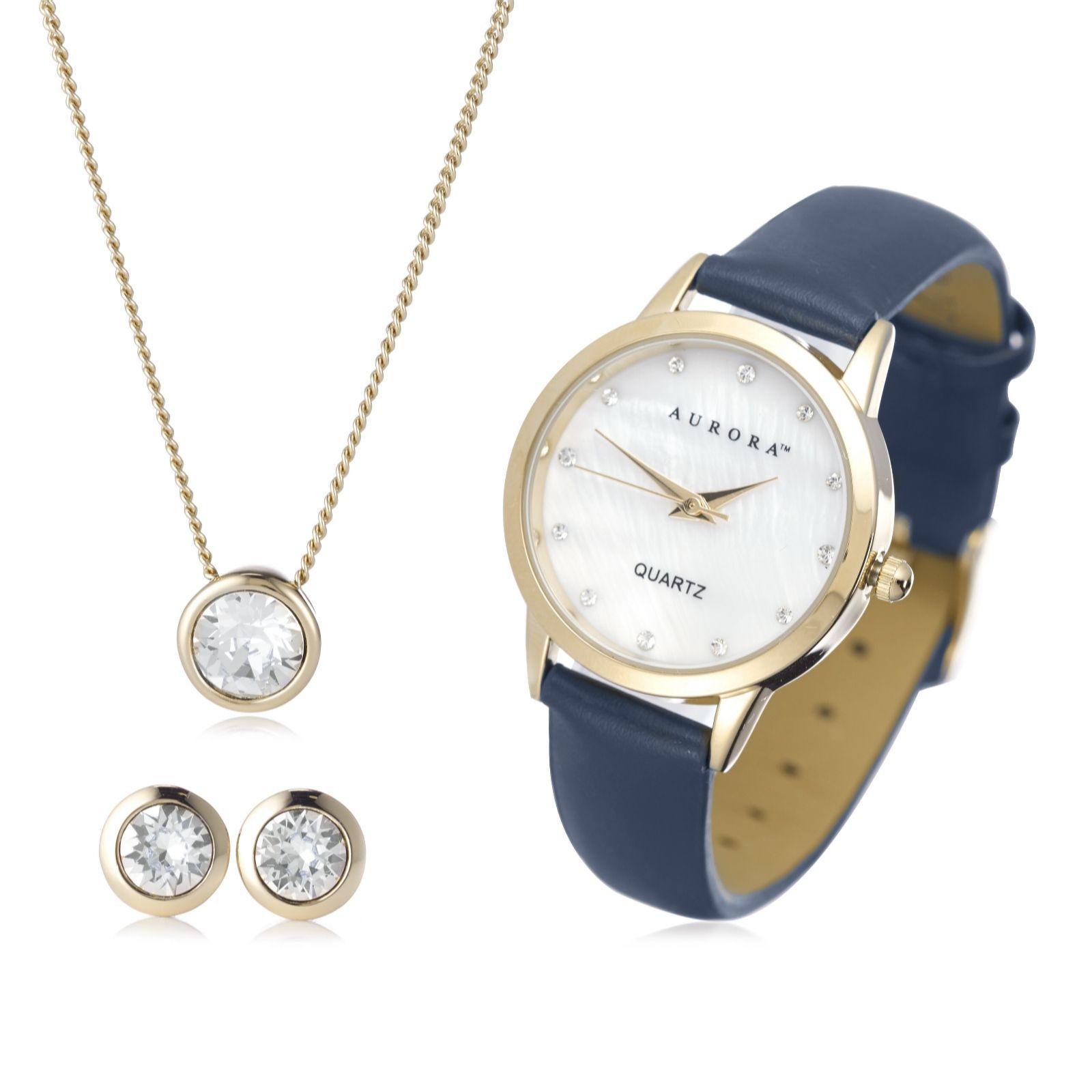 Aurora Swarovski Crystal Watch, Earrings & Necklace Gift Set ...