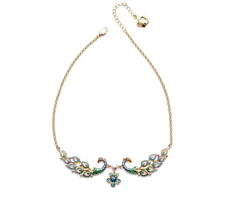 Butler & Wilson Peacock Pair 39cm Necklace with 5cm Extender