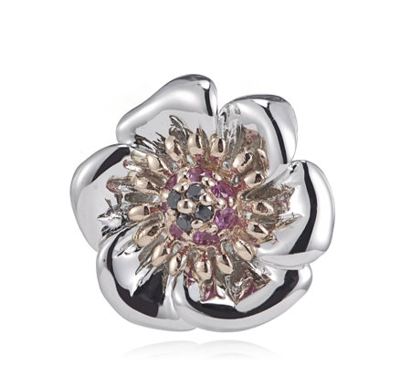 Clogau 9ct Rose Gold & Sterling Silver Welsh Poppy Pin Badge