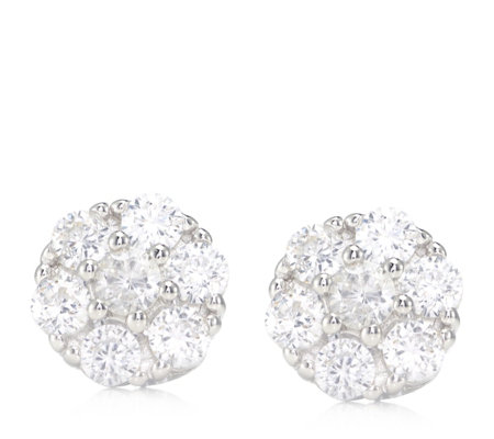 Diamonique 1ct tw Cluster Stud Earrings Sterling Silver