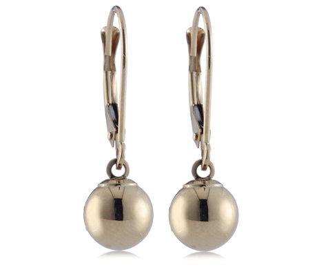 9ct Gold 7mm Ball Drop Leverback Earrings