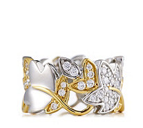 Diamonique 1ct tw Leaf Band Ring with Gold Plated Accent Sterling Silver - 312681