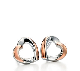 Fiorelli Ribbon Heart Stud Earrings Rose Gold Plated Sterling Silver - 314581