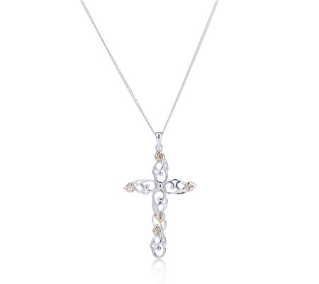 Clogau 9ct Rose Gold & Sterling Silver Cross Pendant & 56cm Chain