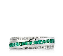0.65ct Emerald Band Ring Sterling Silver - 330581