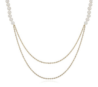 Honora 5-6mm Cultured Pearl & Double Row Gold Glitter Necklace 9ct Gold - 306982