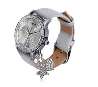 Loverocks Crystal Dial Leather Strap Detachable Charm Watch - 307682