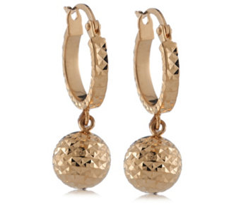 14ct Gold Diamond Cut Ball Charm Hoop Earrings - 307982