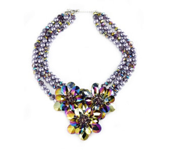 Butler & Wilson Flower Cluster Triple Strand 48cm Necklace - 308082