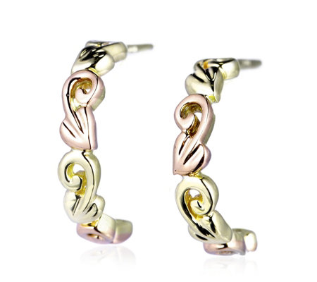 Clogau 9ct Gold & Rose Gold Tree of Life Half Hoop Earrings