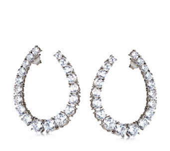 Diamonique 8.6ct tw Front & Back Tear Drop Earrings Sterling Silver - 313282