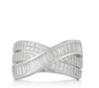 Diamonique 1.8ct tw Wide Band Ring Sterling Silver - 314982