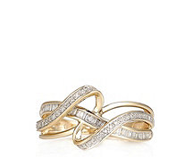 0.25ct Diamond Mixed Cut Ribbon Ring 9ct Gold - 323682