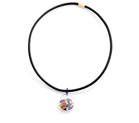 """As Is"" Murano Glass Millefiori Shaker Pendant Necklace Sterling Silver"