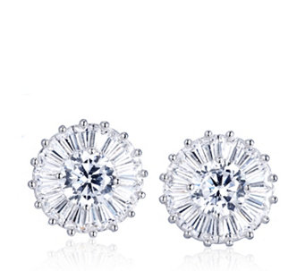 Diamonique by Tova 3ct tw Mixed Cut Stud Earrings Sterling Silver - 309483