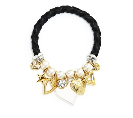 Bibi Bijoux Faux Leather Multi Hearts Bracelet