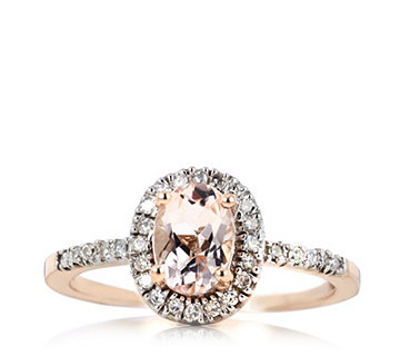 0.8ct Morganite Premier & 0.15ct Diamond Oval Halo Ring 9ct Rose Gold - 320383
