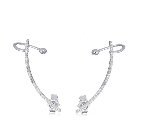 0.1ct Diamond Fine Ear Climber Sterling Silver