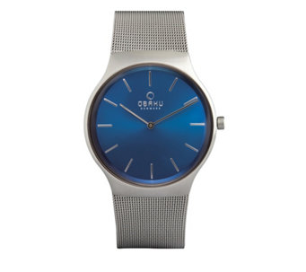 Obaku Men's Rolig Cyan Stainless Steel Mesh Strap Watch - 315984