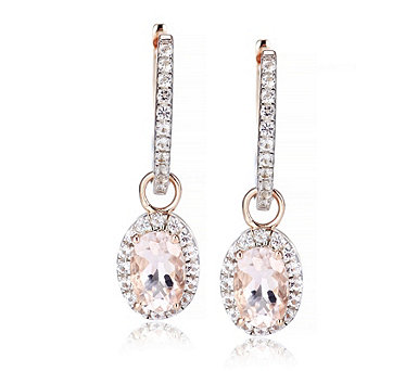 0.8ct Morganite Oval Drop Hoop Earrings Rose Gold Vermeil Sterling Silver - 318984