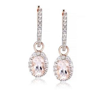 0 8ct Morganite Oval Drop Hoop Earrings Rose Gold Vermeil Sterling Silver 318984