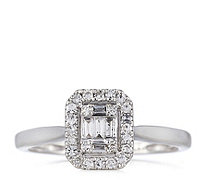 0.25ct Diamond Baguette & Round Cut Halo Ring 9ct Gold - 330384