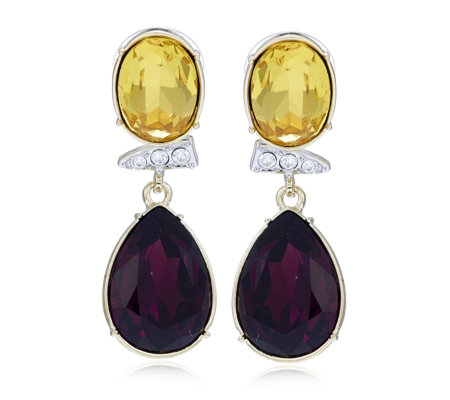 Roberto by RFM Simulated Amethyst & Citrine Couture Drop Earrings