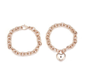 Bronzo Italia Convertible Set of 2 Bracelets into Necklace with Heart Locket - 307785