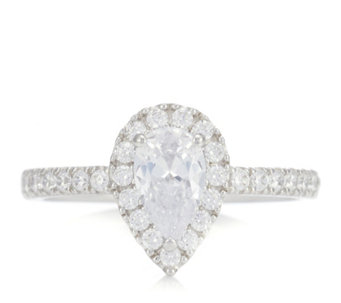 Diamonique 1.2ct tw Pear Cut Halo Ring Sterling Silver - 309685