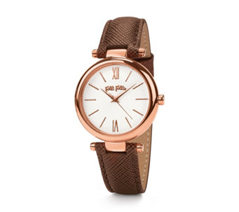 Folli Follie Cyclos Rose Gold & Brown Leather Strap Watch - 311285