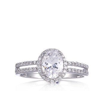 Diamonique 1.77.ct tw Solitaire Halo Ring Sterling Silver - 313985
