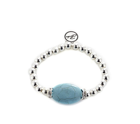 Bibi Bijoux Ball Bead with Turquoise & Crystal Stretch ...