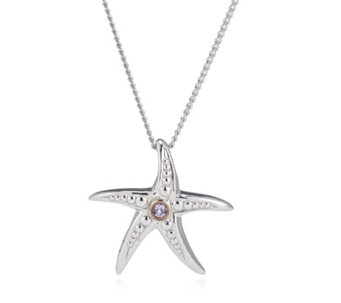 Clogau 9ct Rose Gold & Sterling Silver Starfish Pendant & Chain - 307486