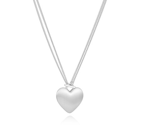 Pilgrim Two Length Heart Pendant 90cm Necklace