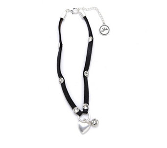 Bibi Bijoux Crystal Heart Charm Leather Choker - 309087