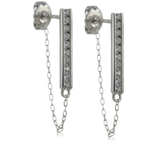 Diamonique 0.2ct tw Bar & Chain Earrings Sterling Silver - 310887