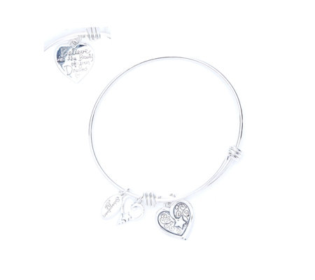 Extraordinary Life Expandable Heart Charm Bangle Sterling Silver