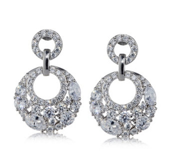 Diamonique 3.9ct tw Glamour Circle Earrings Sterling Silver - 318789