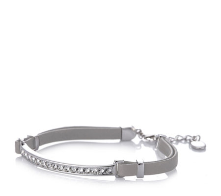 Aurora Swarovski Crystal Bar Leather Bracelet with 5cm Extender
