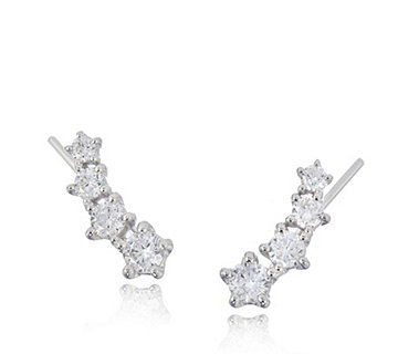 Diamonique by Andrea McLean 1ct tw Earclimbers Sterling Silver - 307590