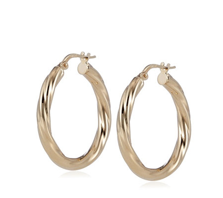Bronzo Italia Traditional Twist Round Hoop Earrings