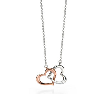Fiorelli Double Heart 41cm Necklace Rose Gold Plated Sterling Silver - 314690