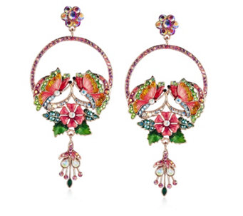 Butler & Wilson Flower Circle Drop Earrings - 312591