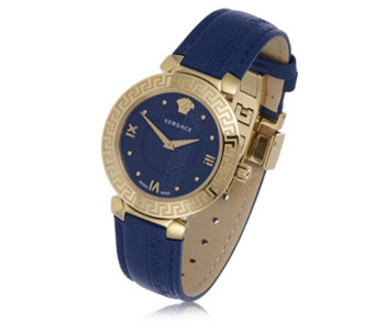 Versace Daphnis Butterfly Buckle Leather Strap Watch - 319991