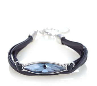 Aurora Swarovski Crystal Leather Multi Wrap 19cm Bracelet - 303692