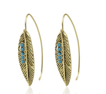 Danielle Nicole Antique Gold Tone Feather Threader Earrings - 308392