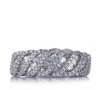 Diamonique 2ct tw Baguette Swirl Ring Sterling Silver - 313192